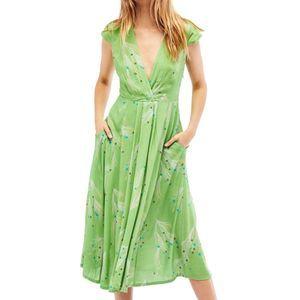 Free People Print Retro Midi Green Dress